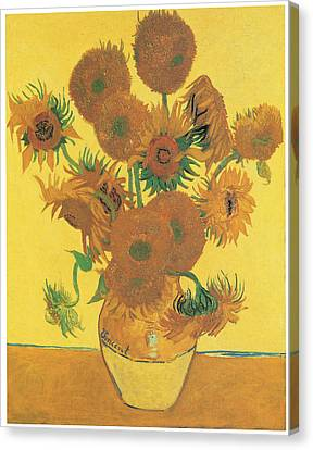 Vase With Fifteen Sunflowers Canvas Print by Vincent Van Gogh