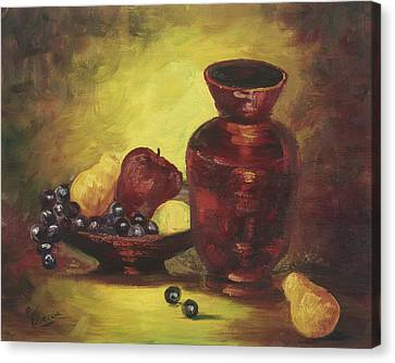 Canvas Print featuring the painting Vase With Fruit Bowl by Rebecca Kimbel