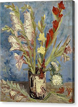 Vase With Gladioli And China Asters Canvas Print by Vincent van Gogh