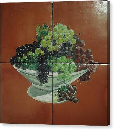 Vase With Grapes Canvas Print by Andrew Drozdowicz