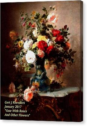 Vase With Roses And Other Flowers L A Canvas Print