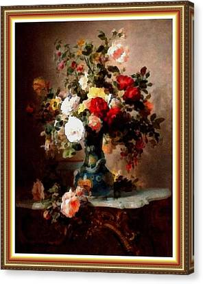 Vase With Roses And Other Flowers L B With Alt. Decorative Ornate Printed Frame. Canvas Print