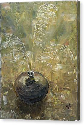 Vase With Wheat. Canvas Print by Mila Ryk