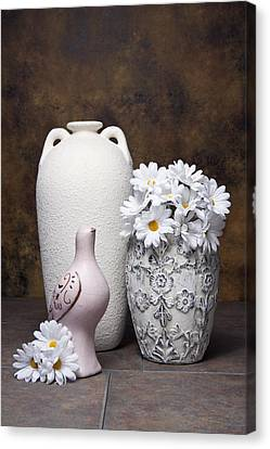Vases With Daisies II Canvas Print