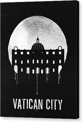 Vatican City Landmark Black Canvas Print
