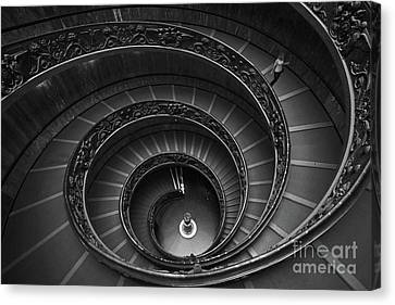 Vatican Staircase Woman Canvas Print by Traveled Walls
