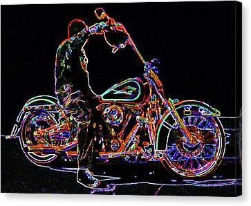 Vato N' Harley Aglow Canvas Print by Kimberley Joy Ferren