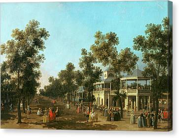 Vauxhall Gardens The Grand Walk Canvas Print by Canaletto