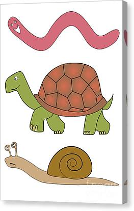 Fast Shipping Canvas Print - Vector Slowly Animals by Michal Boubin