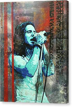 Pearl Jam Canvas Print - Vedder - Even Flow by Bobby Zeik