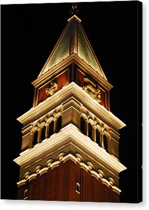 Canvas Print featuring the photograph Vegas At Nite by Maggy Marsh
