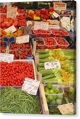 Vegetables At Italian Market Canvas Print by Carol Groenen