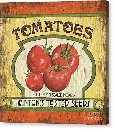 Tomato Canvas Print - Veggie Seed Pack 3 by Debbie DeWitt