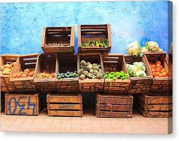 Veggies And The Blue Wall Canvas Print