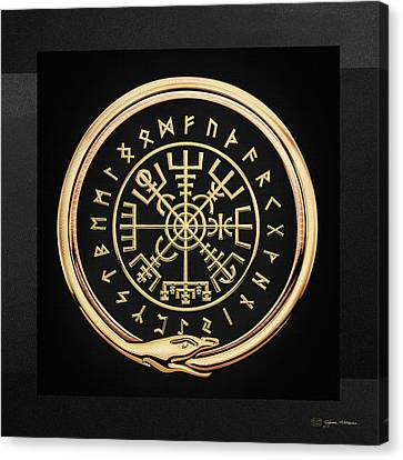 Canvas Print featuring the digital art Vegvisir - A Magic Icelandic Viking Runic Compass - Gold On Black by Serge Averbukh