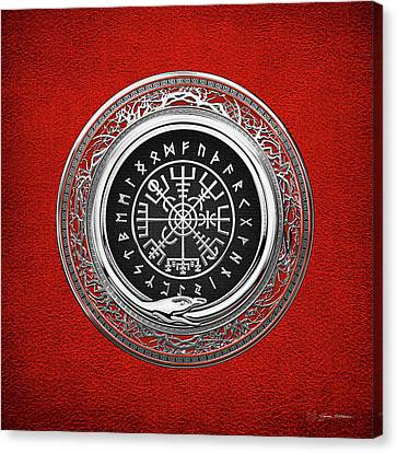 Canvas Print featuring the digital art  Vegvisir - A Silver Magic Viking Runic Compass On Red Leather  by Serge Averbukh