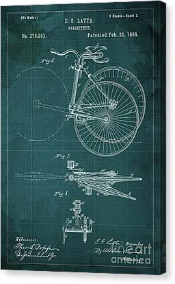 Velocipede Patent Blueprint Year 1888 Green Vintage Poster Canvas Print by Pablo Franchi