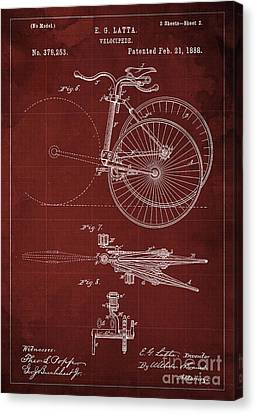 Velocipede Patent Blueprint Year 1888 Red Vintage Poster Canvas Print by Pablo Franchi