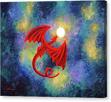 Velvet Red Dragon In Cosmic Moonlight Canvas Print by Laura Iverson