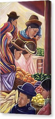 Vendors In La Paz Bolivia Canvas Print by George Chacon