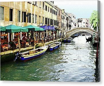 Venetian Cafes Canvas Print by Ellen Henneke