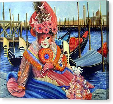 Venetian Carneval Mask With Gondolas Canvas Print