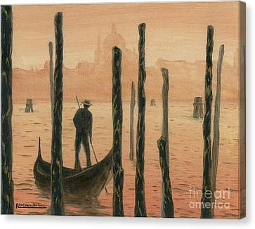 Venetian Gondolier In The Sunset Canvas Print by Italian Art