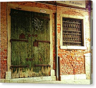 Canvas Print featuring the photograph Venetian Graffiti by Anne Kotan