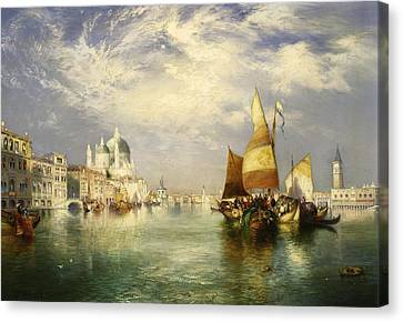 Venetian Grand Canal Canvas Print by Thomas Moran