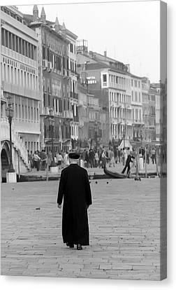 Venetian Priest And Gondola Canvas Print by KG Thienemann