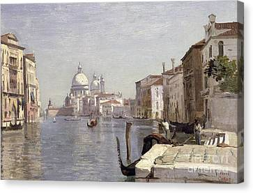 Venice - View Of Campo Della Carita Looking Towards The Dome Of The Salute Canvas Print by Jean Baptiste Camille Corot