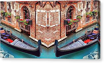 Venice Abstract Corner Boats Romantic Rendezvous-crash Dream Canvas Print