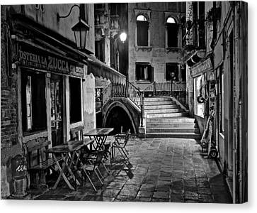 Gondola Ride Canvas Print - Venice Black And White Night by Frozen in Time Fine Art Photography