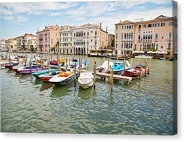 Canvas Print featuring the photograph Venice Boats by Sharon Jones