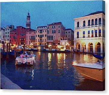 Canvas Print featuring the photograph Venice By Night by Anne Kotan