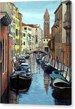 Venice Canal Reflections Canvas Print by Janet King