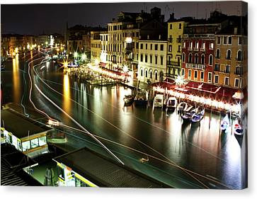 Venice Canal At Night Canvas Print by Patrick English