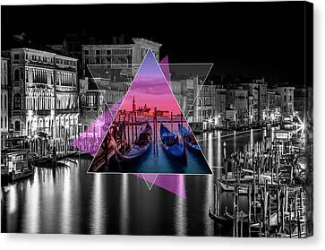Venice Canal Grande And Gondolas At Sunset - Geometric Collage II Canvas Print by Melanie Viola