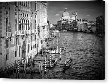 Venice Canal Grande And Santa Maria Della Salute - Monochrome Canvas Print