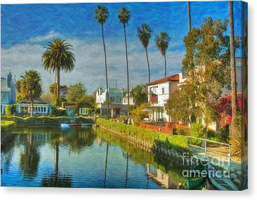 Venice Canal Houses Watercolor  Canvas Print by David Zanzinger