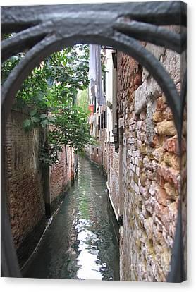 Venice Canal Through Gate Canvas Print