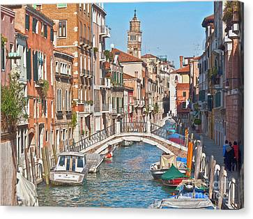 Venice Canaletto Bridging Canvas Print by Heiko Koehrer-Wagner
