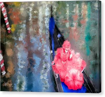 Canvas Print featuring the photograph Venice Carnival. Masked Woman In A Gondola by Juan Carlos Ferro Duque