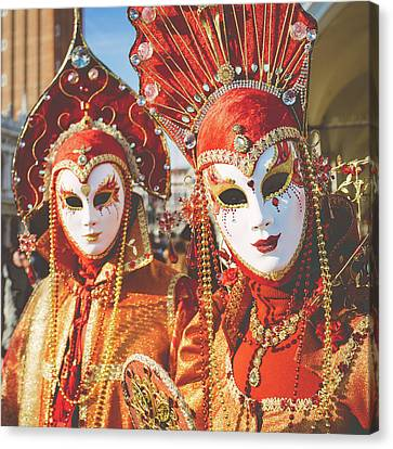 Venice Carnival - Masks And Costumes Canvas Print by Asgeir Pedersen