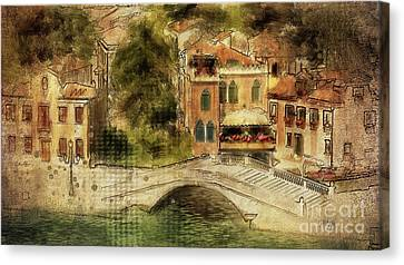 Canvas Print featuring the digital art Venice City Of Bridges by Lois Bryan