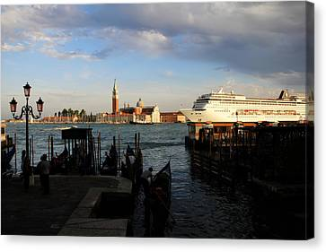 Venice Cruise Ship Canvas Print by Andrew Fare