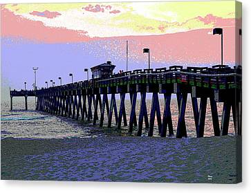 Venice Fishing Pier Canvas Print by Charles Shoup