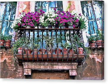 Canvas Print featuring the photograph Venice Flower Balcony by Allen Beatty