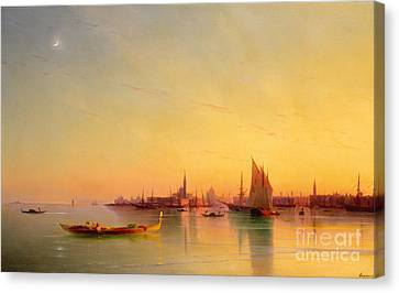 Venice From The Lagoon At Sunset Canvas Print by Ivan Konstantinovich Aivazovsky