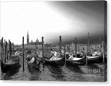 Canvas Print featuring the photograph Venice Gondolas Black And White by Rebecca Margraf